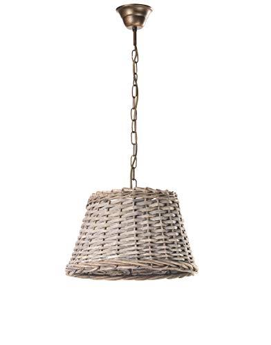 ONLI Lampada a soffitto Cestino di Tipo Rattan, Beige E Bronzo