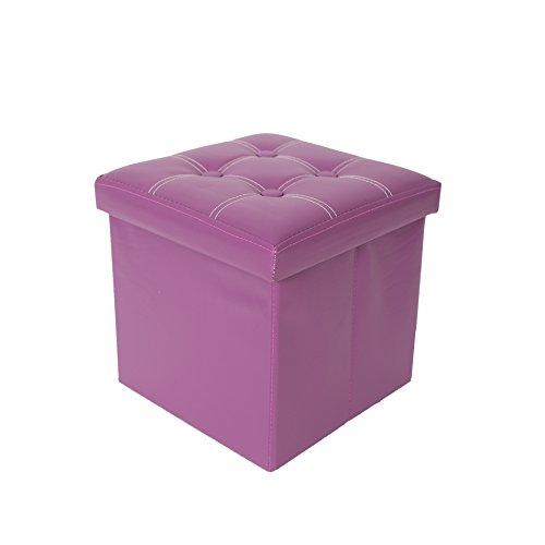 Rebecca Mobili Puff contenitore, sgabello cubo moderno, similpelle mdf, per arredo casa - Misure 30 x 30 x 30 cm (HxLxP) - Art. RE4634