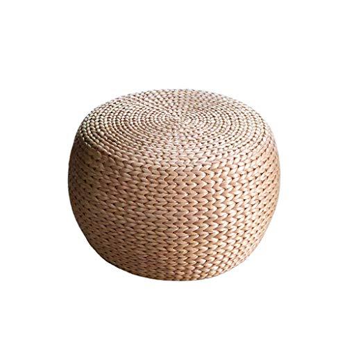 Sgabelli QX IAIZI Pouf in Vimini Rotondo, Pouf in Tessuto Color primordiale e poggiapiedi per divani in Pelle per Vino