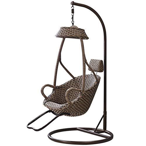 Yaunli - Sedia a dondolo per interni con dondolo e dondolo da appendere a nido d'uccello, in vimini, sedia singola in vimini (colore: marrone, dimensioni: 95 x 195 cm)