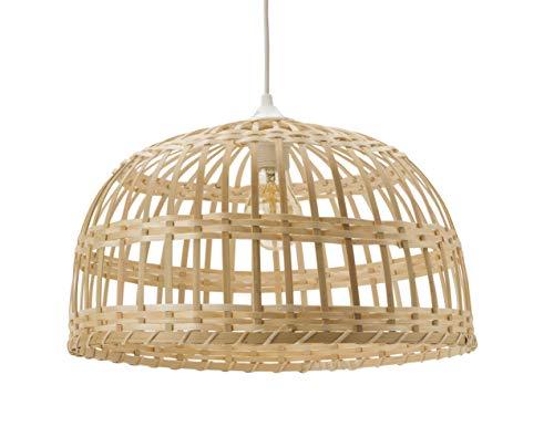 LUSSIOL Lampada Phuket, Sospensione Bambù, 60 W, Naturale, Ø 40 x H 22 cm