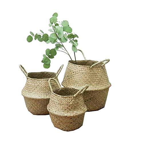 Natural Sea Grass basket, Goodchanceuk 3pcs/set cestino di stoccaggio con manico pieghevole vaso appeso vaso decorativo in 3 dimensioni, 20 x 17 cm/22,5 x 24 cm/24,5 x 28 cm
