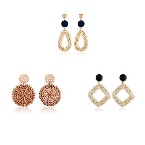 LotCow - 3 paia di orecchini in rattan bohémien, realizzati a mano, in vimini, con treccia di vimini, con motivo geometrico, in stile vintage, intrecciato, per donne e ragazze