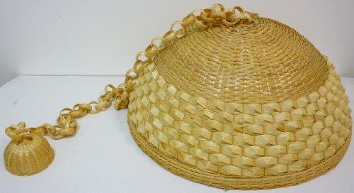 Lampadario A lampada in bamboo bambù rattan vimini e giunco appendibile per casa camera salotto cucina