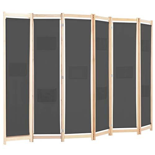 Ausla - Paravento pieghevole in vimini fatto a mano, con 9 sacchetti, telaio in legno per interni camera da letto, ufficio (grigio, 6 pannelli)
