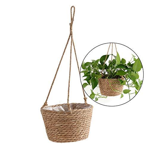 Wankd vasi per piante, cesto in vimini, fioriera a maglia, fioriera sospesa, corda di canapa, fioriera sospesa, supporto per piante, gancio per interno esterno, decorazione da parete, 1 pezzo