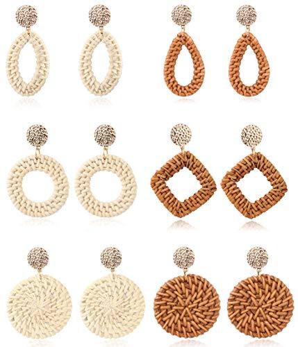Adramata Orecchini in rattan per donna Set di orecchini pendenti in vimini intrecciati a mano in paglia intrecciata a mano