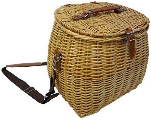 Cesto borsa cesta cestone cestino pesca in vimini con tracolla in cuoio 33x28h29 porta funghi vivande oggetti per pic nic campeggio
