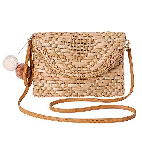 JOSEKO borsa a tracolla in paglia intrecciata, pochette, borsa a tracolla da donna, portafoglio a busta estivo da spiaggia fatto a mano, borsa in rafia da viaggio all'aperto