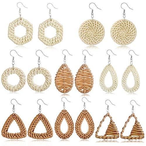 Tamhoo - Set di 8 paia di orecchini pendenti in rattan di vimini, realizzati a mano, in tessuto leggero, con intreccio di rafia e treccia, idea regalo per donne e adolescenti e ragazze e Ottone, 0