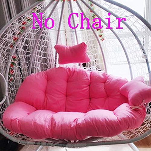 YEARLY Nido D'uovo Sagomato Cuscini, Cestino Cuscini Vimini in Rattan Swing Cuscini per Sedia Appendere L'amaca 2 Posti Persone Cerniera Lavabile Niente sedie-Rosa 140x110cm(55x43inch)