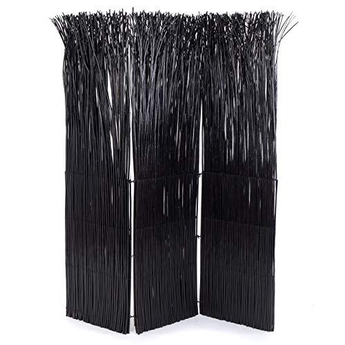 Design Delights - Paravento in rami di salice Nature, 165 x 120 cm (altezza x larghezza), colore: nero, divisorio per stanze, in 3 pezzi, protezione per la privacy