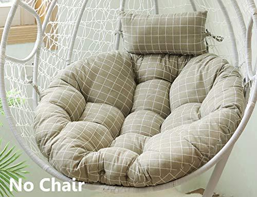 jHuanic - Cuscini per sedia a forma di uovo, in vimini spesso, da appendere, stile nido d'uovo, per sedia a dondolo (solo cuscini e cuscino)