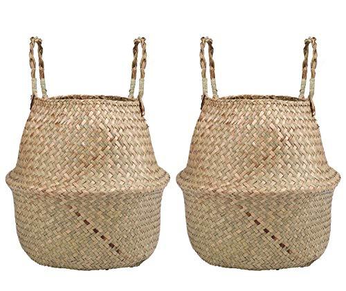 Lawei - Set di 2 cestini portaoggetti in vimini di alghe marine, fatti a mano, pieghevoli, con manico, organizer per la casa, per giocattoli, panni da lavare, picnic, piante, borsa da spiaggia, small
