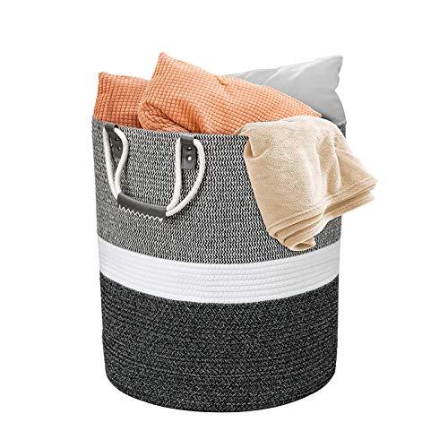 Grande cesto portabiancheria intrecciato in corda di cotone con maniglia, bianco con cuciture nere, diametro 43 x altezza 48 cm, per coperte, cuscini, giocattoli, soggiorno, camera dei bambini, bagno