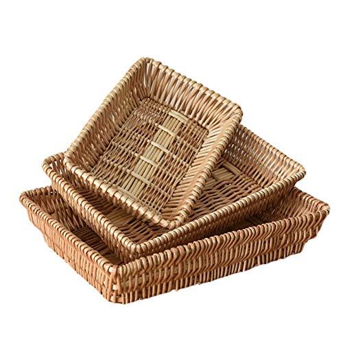 Wenhe 3 cestini per il pane di salice, in tessuto, per alimenti, per servire uova vegetali, per tablet, supermercato, per servire ristorante, casa e cucina