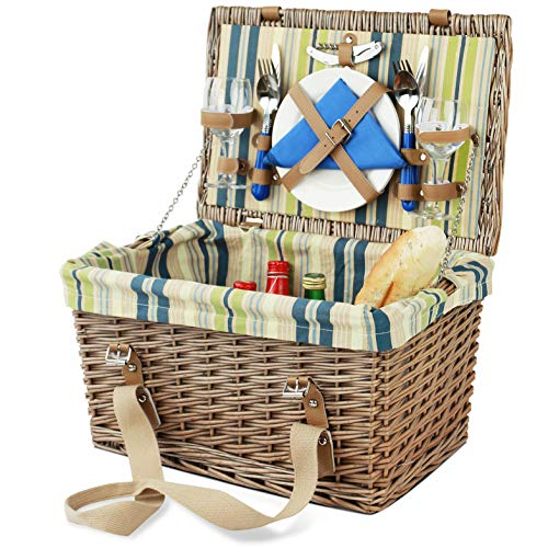 Set cesto da picnic per 2 con fodera rimovibile, grande set di cesto da picnic in vimini, cesto da picnic in salice con kit di posate