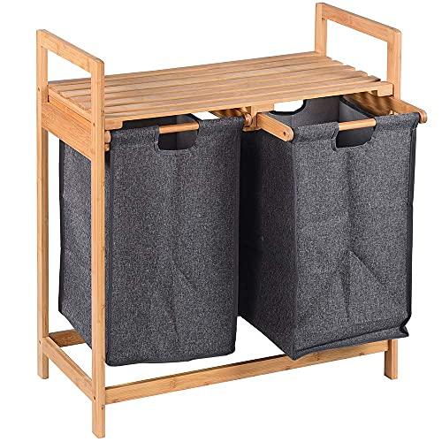 BAKAJI Cesto Porta Biancheria Sporca Casa Struttura in Legno di bambù con 2 Scomparti Portabiancheria Estraibili in Tessuto + Mensola Portasciugamani Dimensione 73.5 x 63.5 x 33 cm Design Moderno