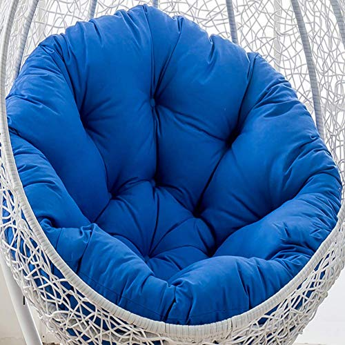 ZXL Nido D'uovo Sagomato Cuscini,Cuscino per Sedia a Dondolo, Cuscini per sedie a Uovo in Vimini di Cotone lanuginoso Tondo Cuscino Patio Giardino-Blu Reale 105x105 cm