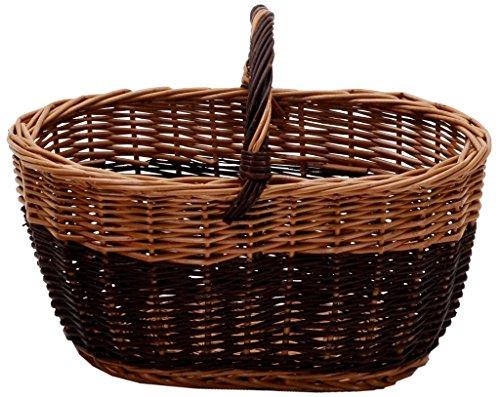 Cesto Cesta Cestone Cestino in Vimini bicolore con manico Porta Funghi e porta legna per pic nic frutta oggetti