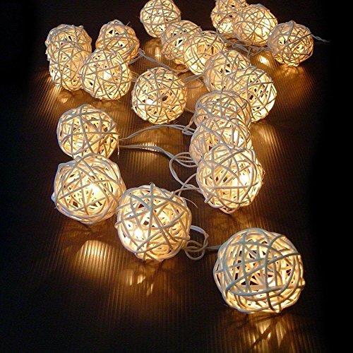 20 lampadina bianca calda del Fairy LED del rattan del vimini della sfera della stringa Fairy Lights Outdoor del giardino della decorazione del patio del partito